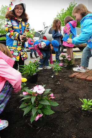 Amesbury: Girl Scouts from Troop  63163 put in plants around the community board in the parking lot at Amesbury Town Hall yesterday afternoon for a community project. Peter Dearborn of the Amesbury DPW gave the girls tips on the proper way to put them into the ground. Bryan Eaton/Staff Photo