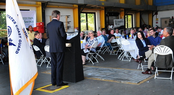 Newburyport: Congressman John Tierney spoke during the Newburyport Rotary's annual lunch yesterday with the U.S. Coast Guard at Station Merrimack yesterday afternoon. Bryan Eaton/Staff Photo
