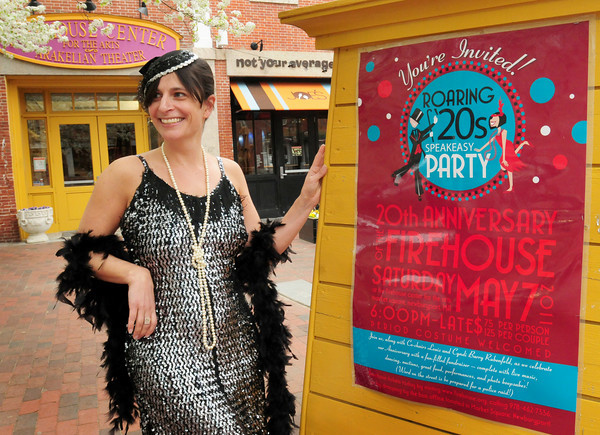 Newburyport: Beth Falconer of the Firehouse Center for the Arts poses in 1920's garb to promote Saturday's Roaring 20's Speakeasy Party to celebrate the center's 20th anniversary. Bryan Eaton/Staff Photo