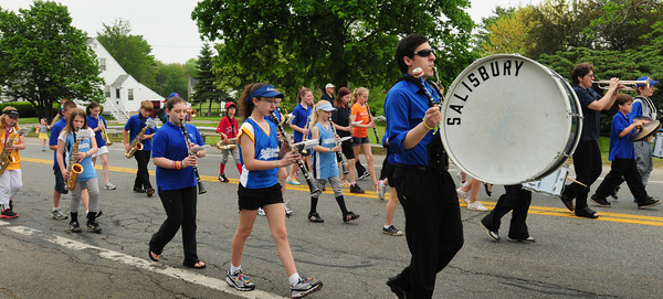 Salisbury: The Salisbury Elementary School Band marches along Route One to Salisbury Square for Memorial Day services. Bryan Eaton/Staff Photo
