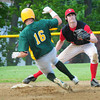 Amesbury: Amesbury shortstop Tyler Lay has the ball to force out North Reading's Eric Popp. Bryan Eaton/Staff Photo