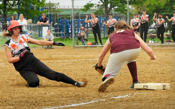 Newburyport: Newburyport third baseman Maddie Stanton has the ball forcing Ipswich's Rachel  Glaubitz out. Bryan Eaton/Staff Photo