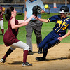 Newburyport: Newburyport short stop Kendra Dow gets the ball in time to force a Lynnfield runner out on a steal attempt. Bryan Eaton/Staff Photo