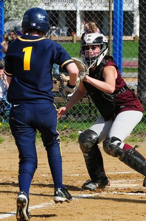 Newburyport: Newburyport catcher Cassandra Davis makes the out at home plate against a Lynnfield player. Bryan Eaton/Staff Photo