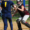 Newburyport: Newburyport catcher Cassandra Davis makes the out at home plate against a Lynnfield player. Bryan Eaton/Staff Photo
