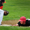 Amesbury: Amesbury's Noah Kligerman makes it back to first on an attempted steal. Bryan Eaton/Staff Photo