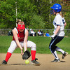 Amesbury: Amesbury second baseman Cassie Schultz scrambles with the ball as a Wilmington players makes a safe run. Bryan Eaton/Staff Photo