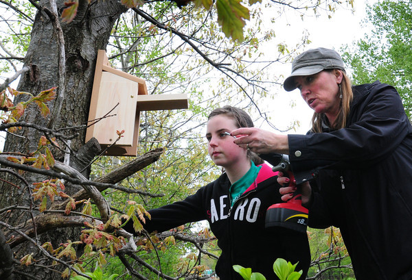 Newburyport: Girl Scouts from Troop 60995 are putting up bird houses along the Clipper Rail Trail. Troop leader Maureen Ellsworth and one of the scouts, Kaitlyn Colby, 10, attach one just south of the footbridge over Low Street. Bryan Eaton/Staff Photo
