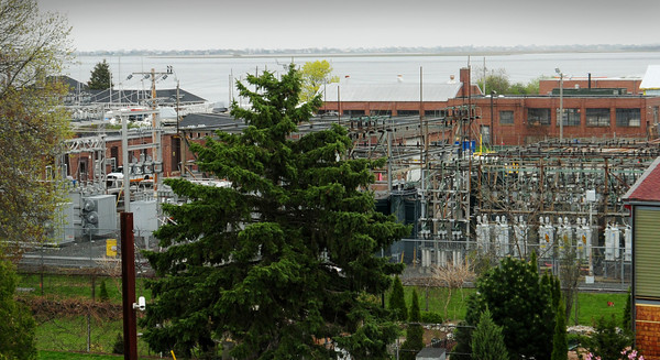 Newburyport: The buildings owned by National Grid at their property on Water Street in Newburyport are under review by the Conservation Commission to be torn down, the substation remaining. View is from the top of the Tannery Mill #4. Bryan Eaton/Staff Photo