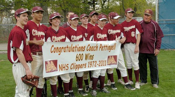 Hamilton: Coach Bill Pettingell was presented with a banner by his team congratulating him on his 600th win at Newburyport High. Bryan Eaton/Staff Photo