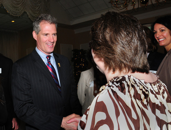 Georgetown: Senator Scott Brown greets the crowd at the Greater Newburyport Chamber of Commerce and Industry Annual Luncheon. Bryan Eaton/Staff Photo