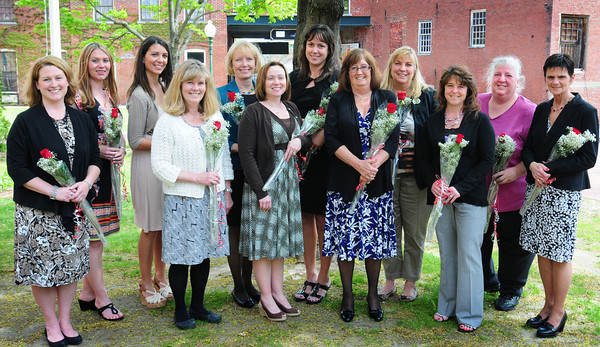 Amesbury: Winners of the Excellence in Education Awards for Amesbury Public Schools are, from left, Sarah Pelletier, Courtney Connell, Ashley LaValley, Ann Bartkiewicz, Patty Hoyt, Kristen Walsh, Diane Naughton, Janet Johnson, Patrice Pierce, Erin Burdick, Marybeth Hoehn and Robin Ward. Bryan Eaton/Staff Photo