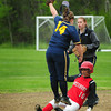 Lynnfield: Amesbury's Alexis Bodwell slips under the Lynnfield shortstop to make it safely to second base. Bryan Eaton/Staff Photo