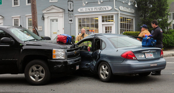 Newburyport: A two-car accident on High Street in Newburyport yesterday afternoon cause traffic to be diverted down side streets. Bryan Eaton/Staff Photo