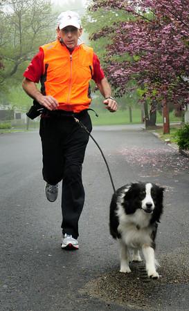 Newburyport: Bill McCarthy and his Australian Shepard, Babe, will be running the Key Bank Marathon in Vermont raising money for the Make-A-Wish Foundation. Bryan Eaton/Staff Photo