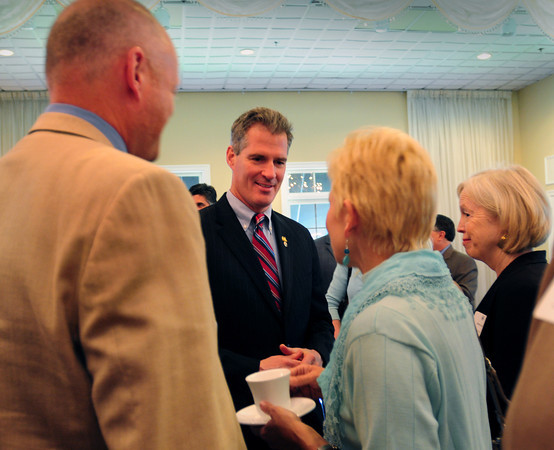 Georgetown: Senator Scott Brown mingles with the crowd before speaking at the Greater Newburyport Chamber of Commerce and Industry Annual Luncheon. Bryan Eaton/Staff Photo