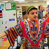 Newburyport: Jaden Madeiros, 12, talks about the country of Togo which he researched, to Ryan Murdock, 13, at the Nock Middle School in Newburport. He was at the International Tourism Expo where children showcased over 160 countries. Bryan Eaton/Staff Photo