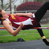 Newburyport: Newburyport's Mary Pettigrew makes it to the next level in the high jump. Bryan Eaton/Staff Photo