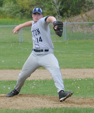 Rowley: Triton's pitcher Nick Cornoni fires one in during the Viking's game against Ipswich at Eiras Field in Rowley Saturday. Jim Vaiknoras/Staff photo