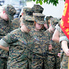Seabrook: Members of the Winnucunet high Marine Corps Jr ROTC bow their heads in prayer at the Seabrook Memorial Day ceremony Sunday morning at Town Hall. Jim Vaiknoras/Staff photo