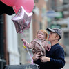 Newburyport: Kaeliegh Belanger, 2, of Newburyport and her dad Markus check out the balloons at Loretta's on State Street in Newburyport Thursday. Jim Vaiknoras/Staff photo