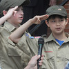 Newburyport: Cub Scouts James Digman and Eli Anderson-Song lead the crowd in the Pledge of Allegiance at the Newburyport Memorial Day service Monday at City Hall. Jim Vaiknoras/Staff photo