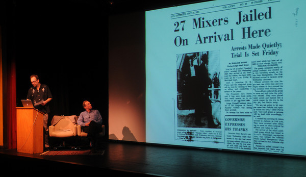 Newburyport: Authors Eric Etheridge and Charles Euchner talk about the Civil Righs movement at the Firehouse  Saturday, part of the Newburyport  Literary Feastival. Jim Vaiknoras/Staff photo