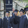 Danvers: St John's Prep seniors make their way to commencement Sunday morning. Jim Vaiknoras/Staff photo