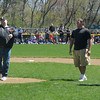 Beverly:Beverly high football coach Dan Bauer along with captains and Little League alumnis George Kallas and Joe Wioncek through out the first pitch at the Opening Day ceremonies for the Beverly Little League at Harry Ball Field Sunday morning. Jim Vaiknoras/Staff photo