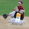 North Reading:Newburyport's Colby Morris tags out North Reading's Chris Ciacotta at second during the Clippers loss to the Hornest Saturday at North Reading. JIm Vaiknoras/Staff photo