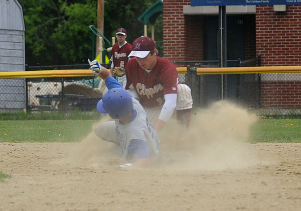 Georgetown: Newburyport's Coltin Fontain tags  <br /> Georgetown's Jared Lathrop out at second during their game at Georgetown Saturday. Jim Vaiknoras/Staff photo