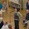 newburyport:Lindsey Haight Director of Our Neighbor's Table in Amesbury ask Senator John Kerry a question at a town hall meeting at Newburyport City Hall Saturday. Jim Vaiknoras/Staff photo