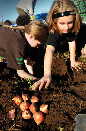 "Amesbury: Helena Entrica, left, and Lillian Buckley, both 9, plant tulip bulbs outside Amesbury Elementary School on Wednesday. Nancy Sullivan's fourth grade students are participating in ""Journey North"" a program where students all over the country plant the bulbs and report on a website as theirs begin to bloom so they can plot the spread of spring. Bryan Eaton/Staff Photo"