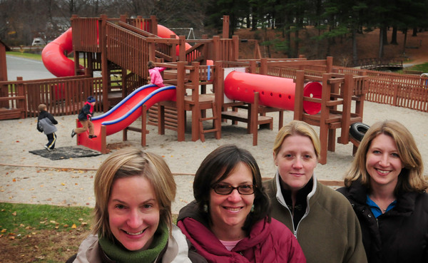 Amesbury: Officers of the group raising money to rebuild the playground at Amesbury Town Park, from left, Sarah Chapman, Kellyn Nahas, Jennifer Hawrylciw, Michelle Sanchez with Jennifer Gravelle missing from photo. Bryan Eaton/Staff Photo