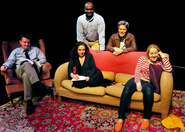 """Newburyport: The cast of """"The Christina Experiment"""" front, from left, Sandy Farrier, Teresa Spaulding and Aisha Chodat. Back, Damon Singletary and Charles Van Eman. Bryan Eaton/Staff Photo"""