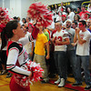 Amesbury: The Amesbury High senior football cheerleaders lead the rest of their classmates in their Color Day rally yesterday morning. They play at Newburyport on Thanksgiving. Bryan Eaton/Staff Photo