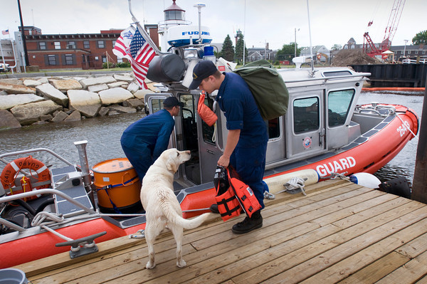 Newburyport: A U.S. Coast Guard crew comes back to the Merrimack River Station last summer after a patrol. Bryan Eaton/File Photo