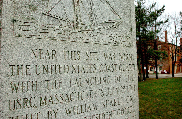 Newburyport: <br /> A granite marker at Waterfront Park behind the Firehouse Center remembers the founding of the U.S. Coast Guard in Newburyport back in 1791 with the launching of the revenue cutter Massachusetts.<br /> Bryan Eaton/File Photo
