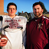 Newburyport: Newburyport offensive coordinator Ryan McCarthy was the last Super Bowl quarterback at the school and now mentors quarterback Connor Wile, left. Bryan Eaton/Staff Photo