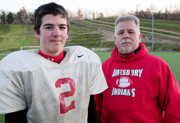 Amesbury: Amesbury High football player Tommy Connors plays for his father, head coach Thom Connors. Bryan Eaton/Staff Photo