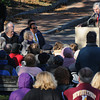 Newburyport: Former Gov. Mike Dukakis speaks about his longtime friend Byron Matthews at the dedication of Byron's Court on Inn Street in Newburyport. Jim Vaiknoras/Staff photo