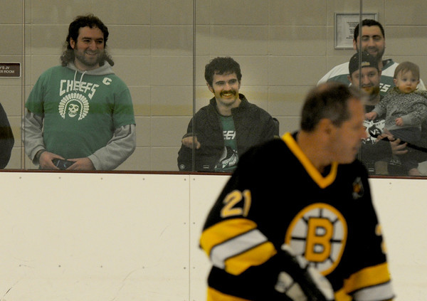 Byfield: Nate Bibaud watches the Skate for Nate hockey game fundraiser between Team Nate Bibaud and the Boston Bruins Alumni team at<br /> The Governor's Academy Saturday night. Jim Vaiknoras/staff photo