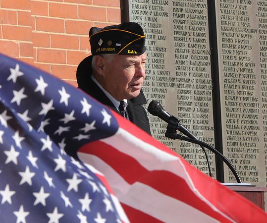 Newburyport: Veteran's Affairs Agent Kevin Hunt speaks the Veteran's Day Service at Newburyport City Hall. Jim Vaiknoras/Staff photo