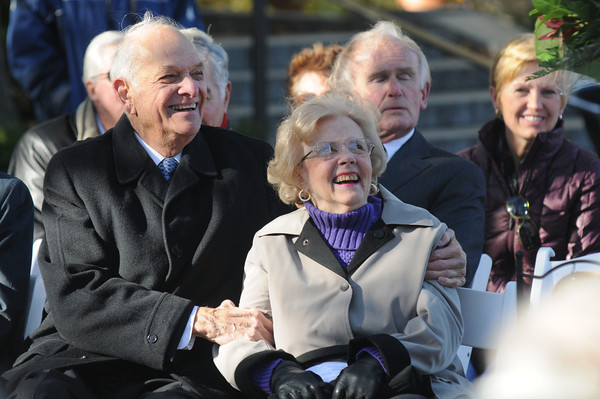 Newburyport: Byron Matthews and his wife Helen share a laugh as they listen to Byron's son, John, talk about growing up at the dedication of Byron's Court on Inn Street in Newburyport. Jim Vaiknoras/Staff photo