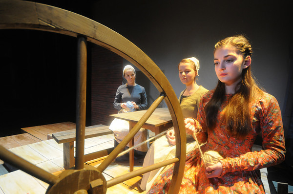 """Newburyport: From the left,Jenna Wood as Judith Wood, Paige Hall as Mercy Wood, and  Becky Kuzma as Kit Tyler in the Newburyport High THeatre Dept production of """"Witch of Blackbird Pond"""". The play runs Thursday though Saturdat at 7pm, tickets are $10 for adults and $6 for students and seniors. Staff photo"""
