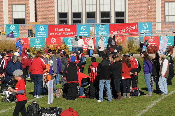 Newbury: Players gather at the opening ceremony of the Special Olympics Soccer tournament at The Governors Academy Sturday morning.