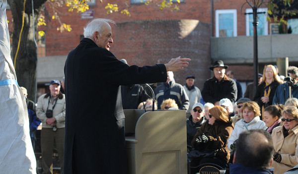 Newburyport: Byron Matthews greets the crowd at the dedication of Byron's Court on Inn Street in Newburyport. Jim Vaiknoras/Staff photo