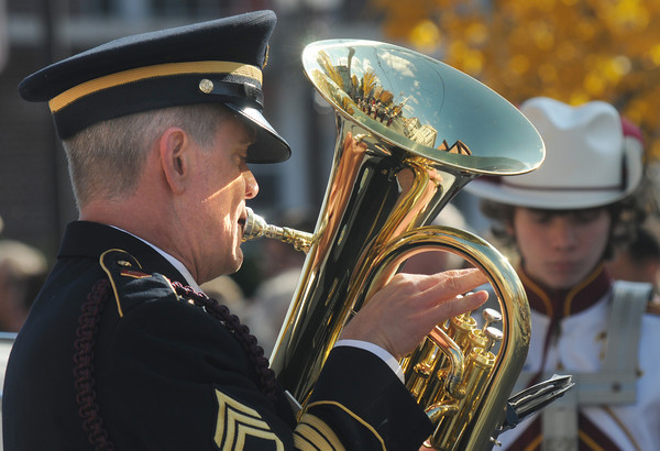 Newburyport; Newburyport Band director Steve Cohen, who is also a veteran, play euphonium with the high school band at the Veteran's Day service at City Hall Friday. Jim Vaiknoras/Staff photo