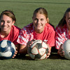 Amesbury: Amesbury soccer players  Hannah Zannini, Madison MacLean,and Emily Martin. The Amesbury soccer team qualified for the tourney for the 2nd year in a row after not making tourney since 1995.<br /> Jim Vaiknoras/staff photo