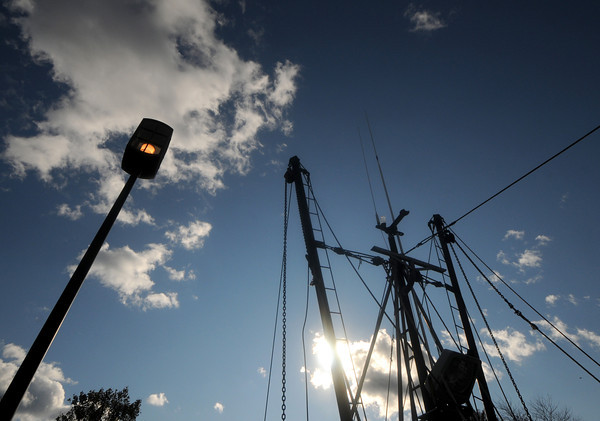 Newburyport: The Early Times sits in the Embayment in Market Landing Park silhouetted against the afternoon sky. Jim Vaiknoras/staff photo